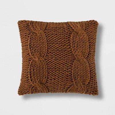 Chunky Cable Knit Throw Pillow Threshold With Images Chunky Cable Knit Throw Cable Knit Throw Knitted Throws