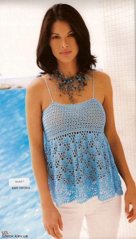 Simple Blue Top - Free Crochet Diagram - (demismanostejidos.blogspot) ༺✿ƬⱤღ  https://www.pinterest.com/teretegui/✿༻