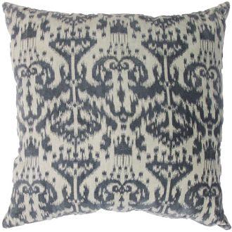 grey ikat decorative throw pillow in cotton velvet at skyiris.com