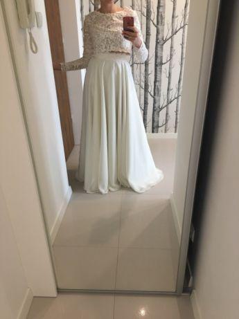 Suknia Sukienka Slubna Gala Dwuczesciowa Ivory Crop Top R 38 Koronka Lublin Image 2 Dresses Fashion Prom Dresses