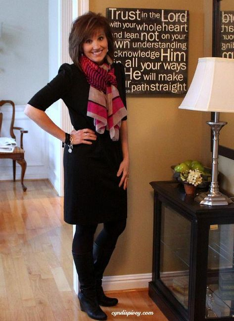 Basic black with colorful scarf, black tights, and boots. #womensfashioncasualover50cardigans