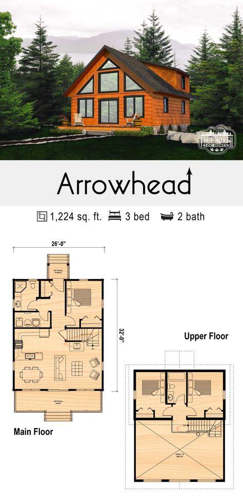 Arrowhead - True North Log Homes Small Cabin Plans, Log Cabin Floor Plans, Cabin House Plans, Log Home Plans, Tiny House Cabin, New House Plans, Dream House Plans, Cabin Homes, Log Homes