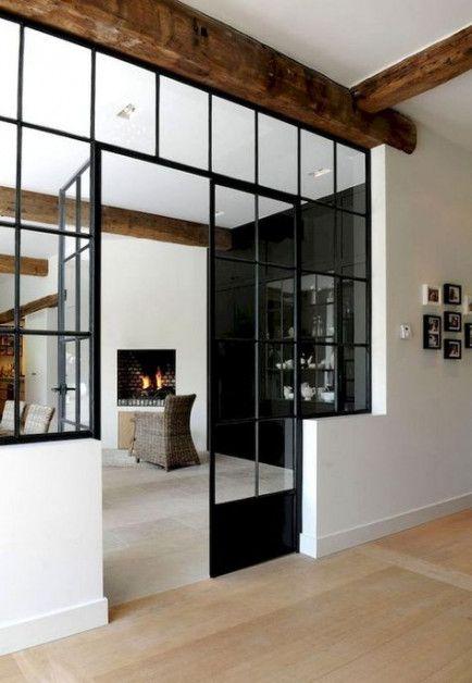 Trendy Kitchen Window Black Glass Walls 52 Ideas Interior Windows Modern Loft Glass Room Divider
