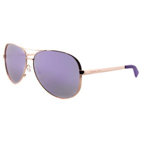 Michael Kors MK 5004 10034V Chelsea Rose Aviator Sunglasses With Purple Mirror Lens
