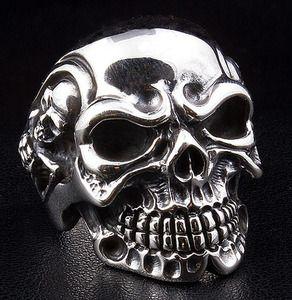 Gigantic Skull Biker Ring