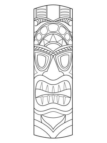 Hawaiian Tiki Masks Coloring Pages | tiki masks | Pinterest ...