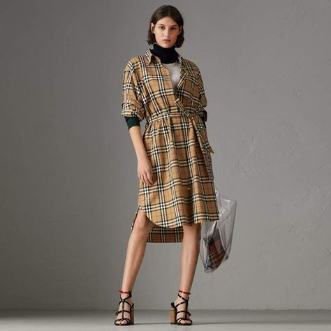 Burberry Vintage Check Cotton Tie-waist Shirt Dress   My Linkin Park ... a4bfd8471ad