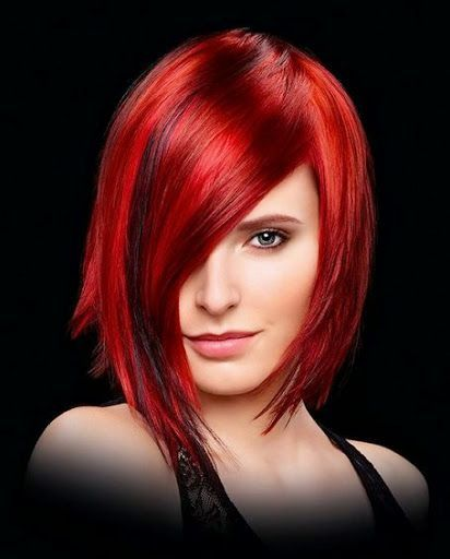 Amazon Link Trendy Medium Hairstyle Bright Red Highlights Be Ready To Try Any 2016 Hairstyle Trend Yo Red Bob Hair Medium Hair Styles Hair Styles