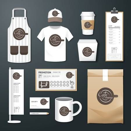 Coffee shop corporate identity template design set with coffee shop logo.