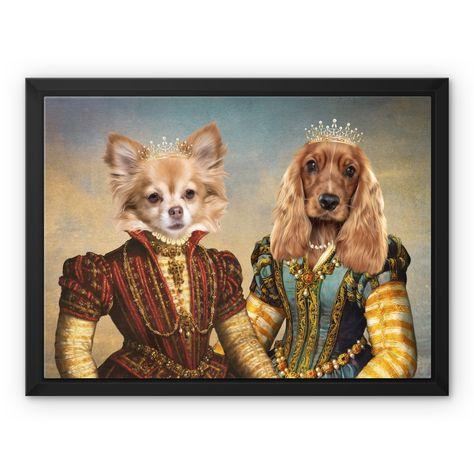 The Princesses: Custom Pet Canvas - 10x8 / White / Black Floating Frame