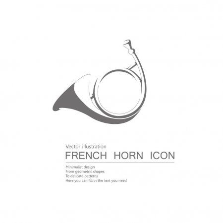 Vector Drawn French Horn Isolated White Background Stock Vector Aff French Horn Vector Drawn Ad Vector Drawing French Horn Vector