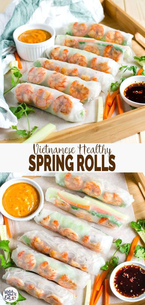 Healthy Lunch Ideas Discover Vietnamese healthy spring rolls with peanut butter sauce Vietnamese healthy spring rolls with creamy peanut butter sauce are a perfect treat to yourself at home. 30 min flavorful healthy rolls for lunch or dinner Healthy Rolls, Healthy Spring Rolls, Healthy Spring Recipes, Recipe For Spring Rolls, Sauce For Spring Rolls, Healthy Vietnamese Recipes, Healthy Meal Prep, Healthy Snacks, Healthy Eating