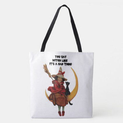 2020 Halloween Tote Ideas Vintage Halloween You Say Witch Tote Bag | Zazzle.in 2020