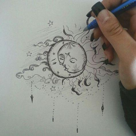Beau tatouage soleil et lune! - Beau tatouage soleil et lune! - La mejor imagen sobre diy crafts para tu gusto Estás buscando algo y no has podido alcanzar la im - Cool Art Drawings, Pencil Art Drawings, Art Drawings Sketches, Tattoo Drawings, Drawing Art, Drawing Ideas, Bauch Tattoos, Arte Sketchbook, Mandala Tattoo