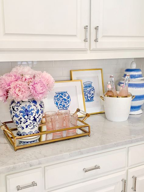 Affordable Art Finds with Walmart – The Decor Diet Kitchen decor, blue and white ginger jars, glam home decor, pink peonies, gold framed art prints Plywood Furniture, Interior Minimalista, Jar Art, Chinoiserie Chic, Chinoiserie Wallpaper, Ginger Jars, Affordable Art, Pink Peonies, White Decor