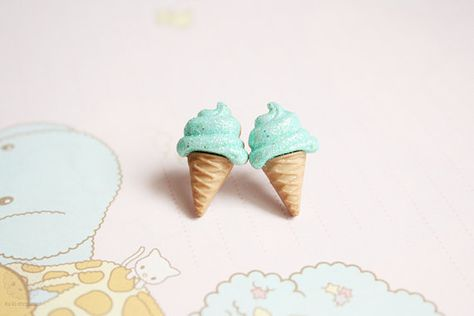 Mint icecream earring studs  kawaii miniature jewelry by kukishop, $8.00