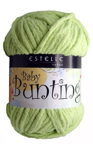 Estelle Baby Bunting 100% polyester soft bulky yarn has a free baby blanket pattern on the label.  Available at www.ariverofyarn.ca