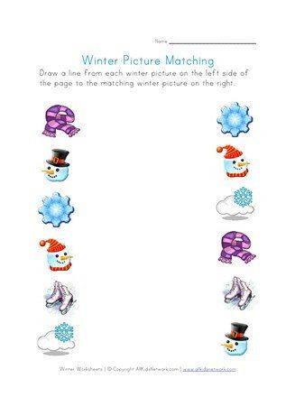 Winter Worksheets For Preschoolers Winter Picture Matching Printable Winter Worksheets Preschool Worksheets Winter Math Worksheets Matching Worksheets