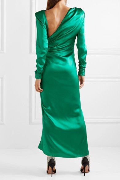 authorized site pre order outlet Alessandra Rich - Ruched crystal-embellished silk-satin midi ...