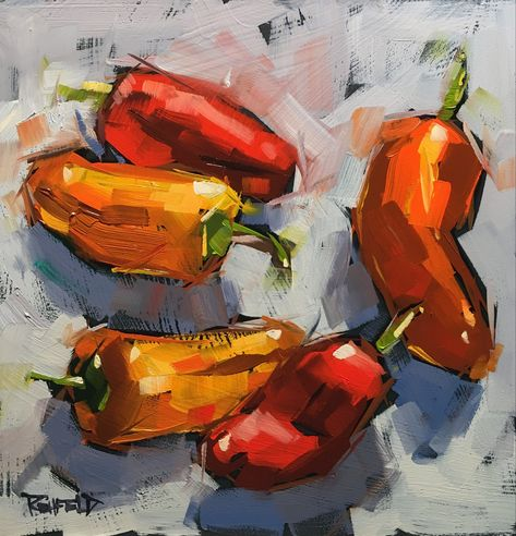 """Sweet Peppers"" 6x6 in the grocery store is full of inspiration. http://www.dailypaintworks.com/buy/auction/662983"