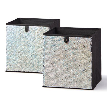 Mainstays Reversible Sequin Collapsible Cube Storage Bins 10 5 X 10 5 Set Of 2 Multiple Colors Walmart Com Collapsible Storage Bins Cube Storage Bins Cube Storage