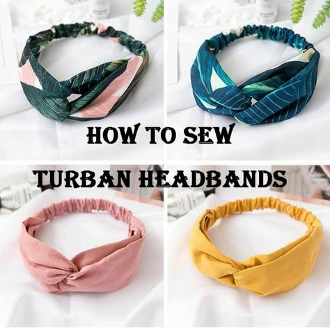 How To Sew Turban Headbands - Easy Beginners Project- Sewing Lesson Turban Headband Tutorial, Headband Pattern, Diy Headband, Sewing Headbands, Fabric Headbands, Turban Headbands, Easy Sew Headbands, Sewing Projects For Beginners, Sewing Tutorials