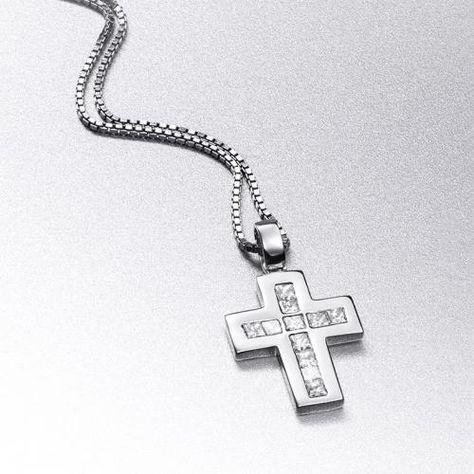 8225a8421a16 Cadena y cruz PRINCESAS Cadena y colgante en forma de cruz de oro blanco de  18 kilates