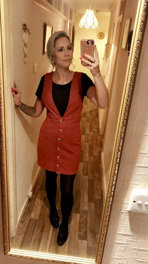 Orange pinafore dress primark outfit tights  patent loafers new look Black T-shirt primark