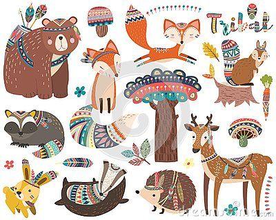 Woodland Tribal Animal Collections Set Stock Vector Illustration Of Deer Animals 153124720 Tribal Animals Tribal Clip Art