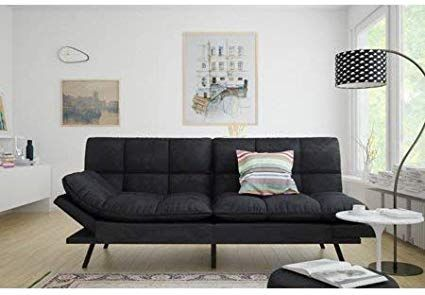 Mainstay Memory Foam Futon Black Suede Fabric Wood Metal Free Clean Fabric Cloth Black Suede Review Apartment Decor Cool Couches Comfortable Furniture