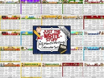 Just The Write Stuff ~ A 12 Month Writing Calendar Set.  This Calendar Set is just the BASICS of my writing units. It ONLY includes 12 writing calendars (color background and black & white background for each month), with 20 writing prompts on each calendar.  $