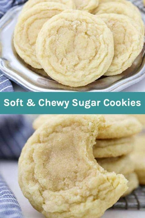 Everyone needs an Easy Sugar Cookie recipe. They're buttery, dense and chewy in the middle. You can top these sugar cookies with a vanilla frosting, or roll them in sugar or sprinkles. Drop sugar cookies are perfect when you don't feel like going through all the hassle to make cut out cookies. #sugarcookies #dropsugarcookies #easysugarcookies