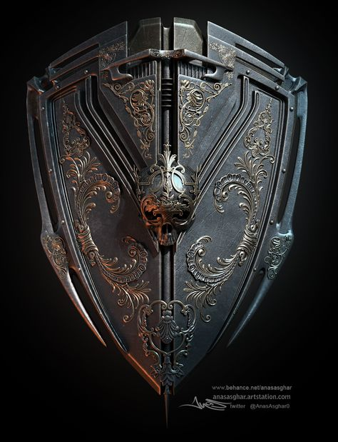 "rhubarbes: ""ArtStation - skullshieldII, by Anas Asghar "" Fantasy Armor, Fantasy Weapons, Medieval Fantasy, Armour Tattoo, Shield Tattoo, Weapon Concept Art, Armor Concept, Vikings, High Fantasy"