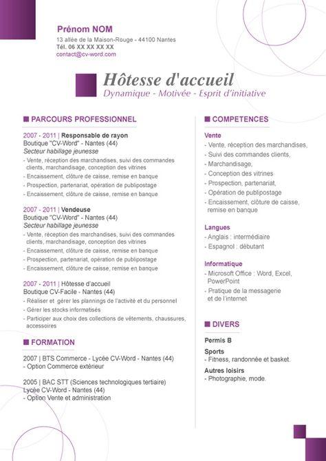 Modèle Cv Original Hôtesse D Accueil à Télécharger Au Format