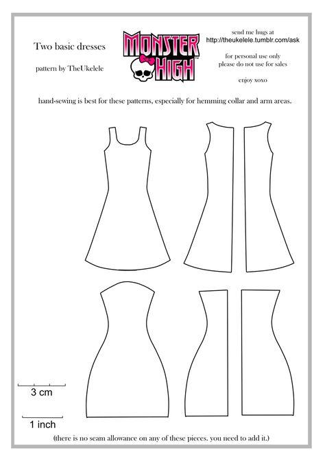 Monster High Two Basic Dress Patterns by TheUkelele.deviantart.com on @deviantART