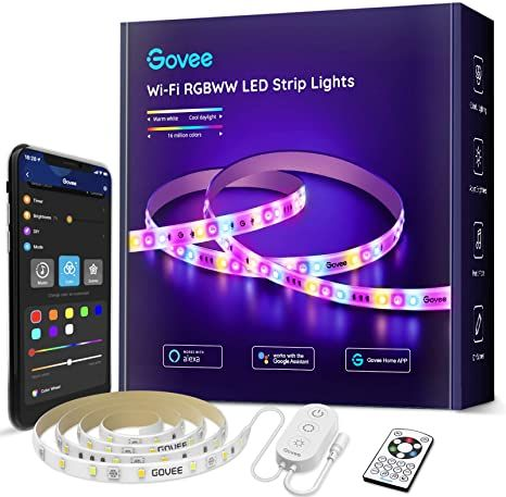 Govee Smart Led Strip Lights Rgbww Warm And Cool White Works With Alexa Amp Google Assistant App And R Strip Lighting Led Strip Lighting Works With Alexa