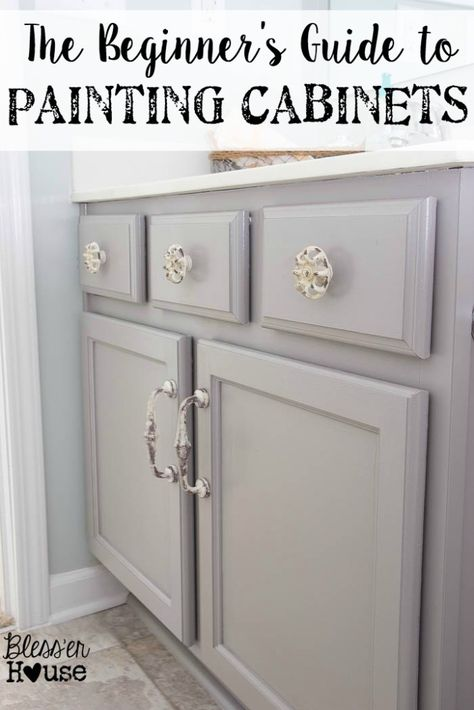 The Beginner's Guide to Painting Cabinets | Bless'er House - All of the steps easily broken down and explained along with the cost. Yes!