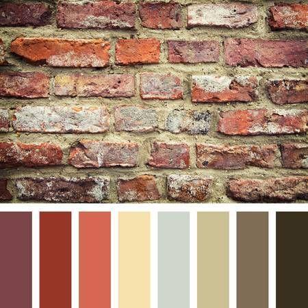 Pared De Ladrillo Rojo En Una Paleta De Colores Con Muestras De Color De Regalo Casas De Ladrillo Rojo Paredes De Ladrillo Rustico Puertas De Colores