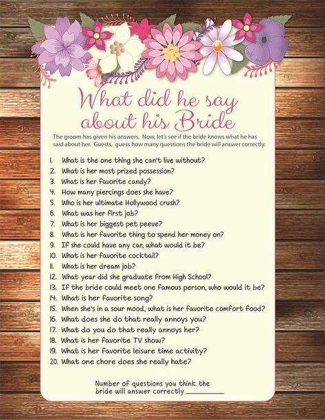 He Said She Bridal Shower Questions And Printables B R I D A L S H O W E C T P Y Pinterest