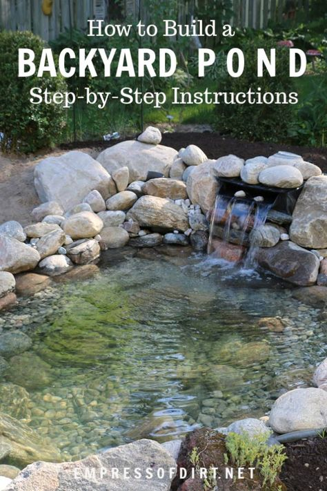 How to build a backyard garden pond showing each step including choosing the site digging the pond adding rocks and stones setting up the liners filling the pond with water and adding aquatic plants. Fish Pond Gardens, Koi Fish Pond, Garden Ponds, Koi Ponds, Water Gardens, Outdoor Fish Ponds, Fish Ponds Backyard, Backyard Stream, Garden Stream