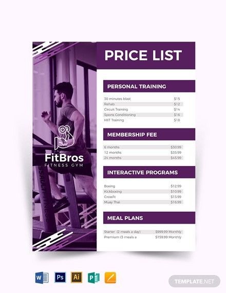Free Photography Pricing Guide Templates In 2021 Gym Prices Photography Pricing Guide Template Price List Template
