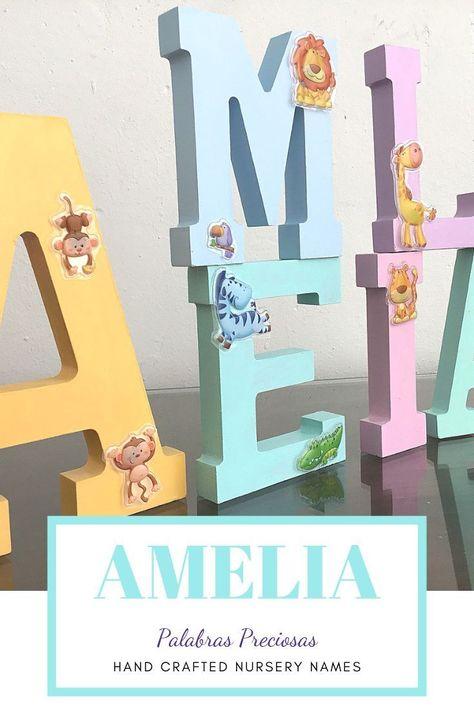 Custom Wood Letters Nursery Decor 6 Letter Set Purple And Teal