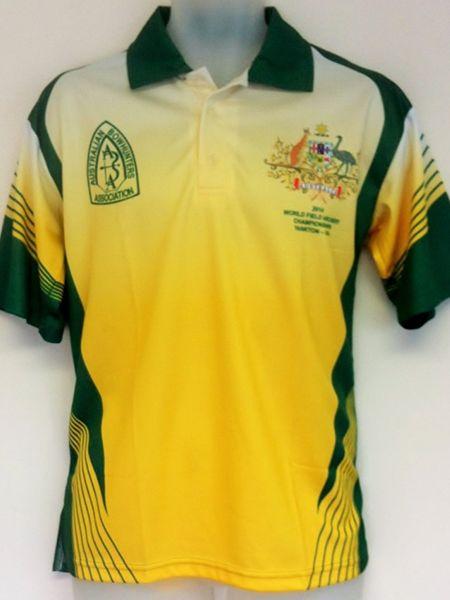 Printed Sublimated Polo Shirt For Archery Australia Custom Made Uniforms Polo Shirt Design Polo Shirt Shirt Designs