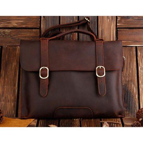 ROCKCOW Real Leather Messenger Cum Laptop Cross Body Satchel Brown Bag Briefcase 1132