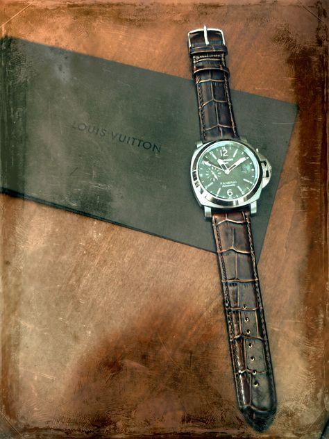 Hadley Roma MS853  Black Alligator Grain Italian Calf Stitched Watchband SPO