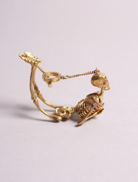 gold, skull, skeleton, bracelet | Wheretoget.it