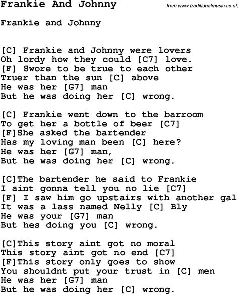Song Frankie And Johnny With Lyrics For Vocal Performance And