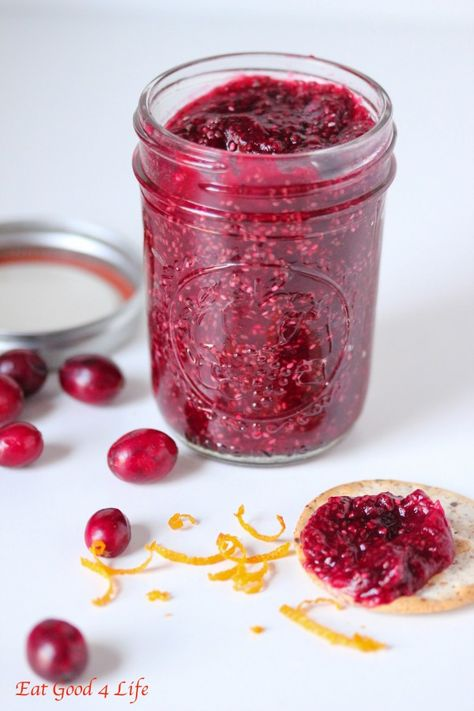 Cranberry orange chia seed jam done in just 10 minutes. Much healthier than other cranberry sauces out there!