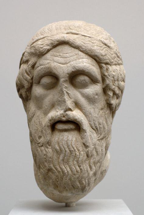 """Retrato de Homero """"tipo Epiménides"""" después de una copia romana de un original griego del siglo V antes de Cristo."""