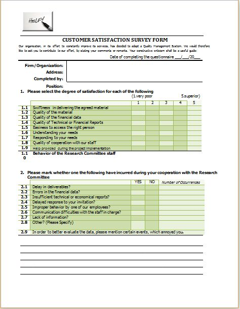 Customer satisfaction survey form template at http\/\/www - sample customer satisfaction survey